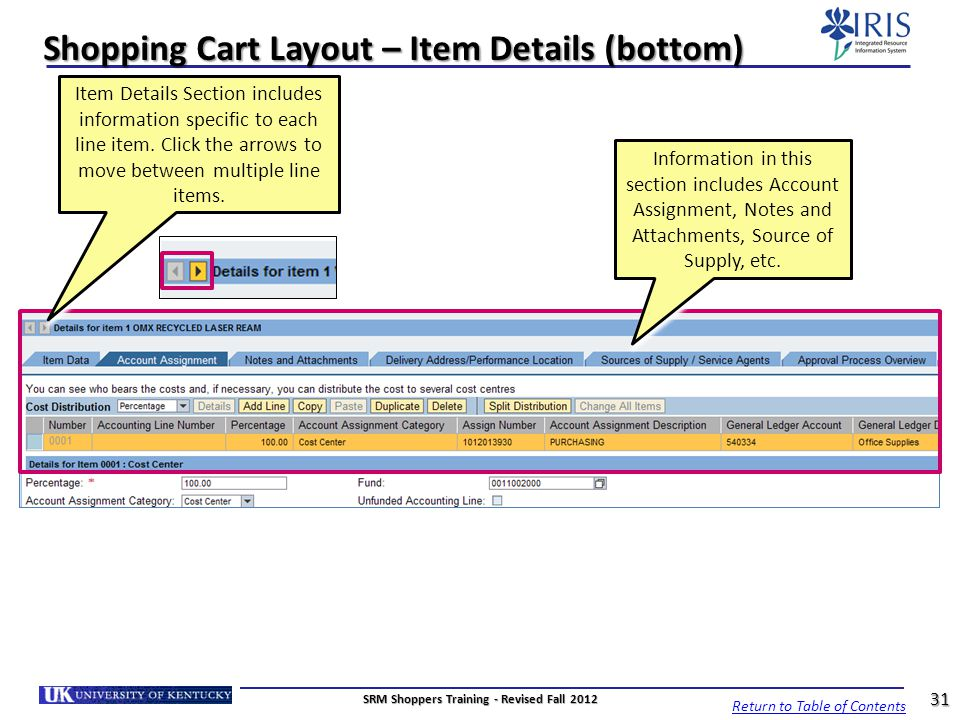 Shopping Cart Layout – Item Details (bottom) Item Details Section includes information specific to each line item. Click the arrows to move between mu