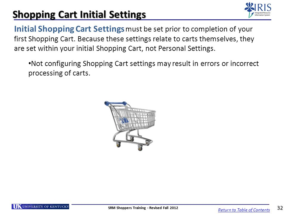 Shopping Cart Initial Settings Initial Shopping Cart Settings must be set prior to completion of your first Shopping Cart. Because these settings rela