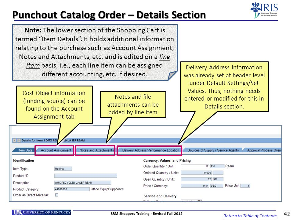Punchout Catalog Order – Details Section Delivery Address information was already set at header level under Default Settings/Set Values. Thus, nothing