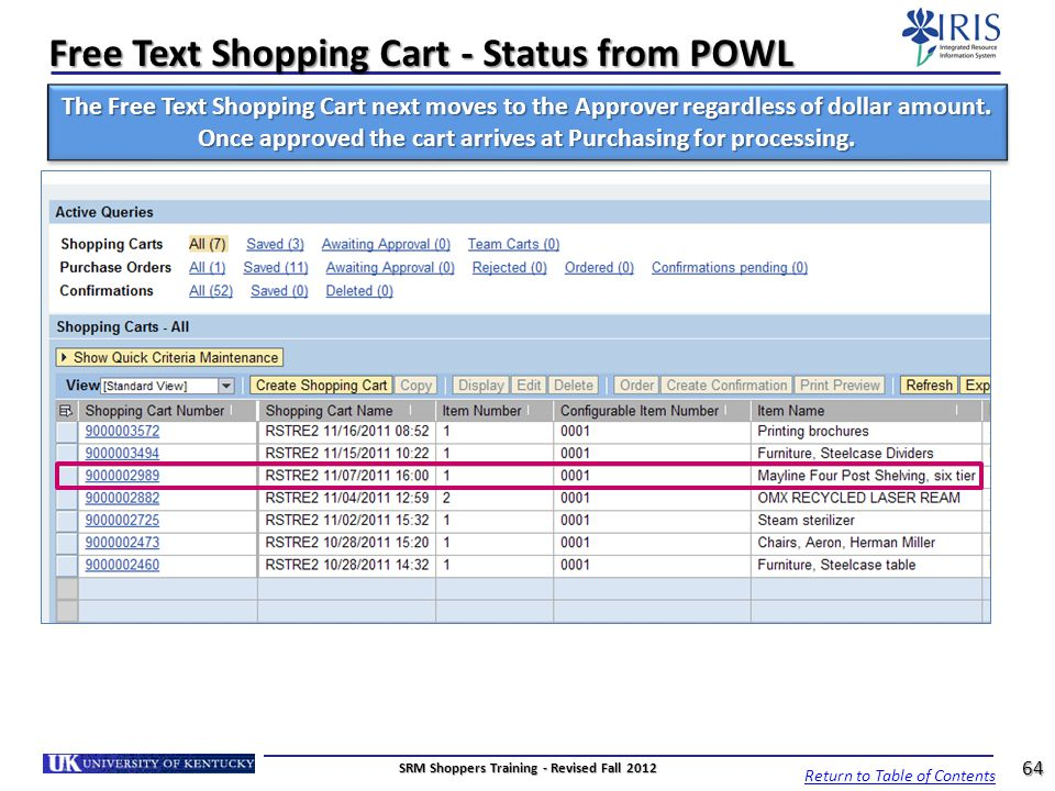 Free Text Shopping Cart - Status from POWL The Free Text Shopping Cart next moves to the Approver regardless of dollar amount. Once approved the cart