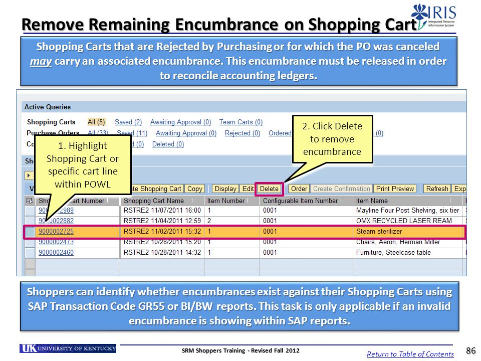 Remove Remaining Encumbrance on Shopping Cart 2. Click Delete to remove encumbrance 1. Highlight Shopping Cart or specific cart line within POWL Retur