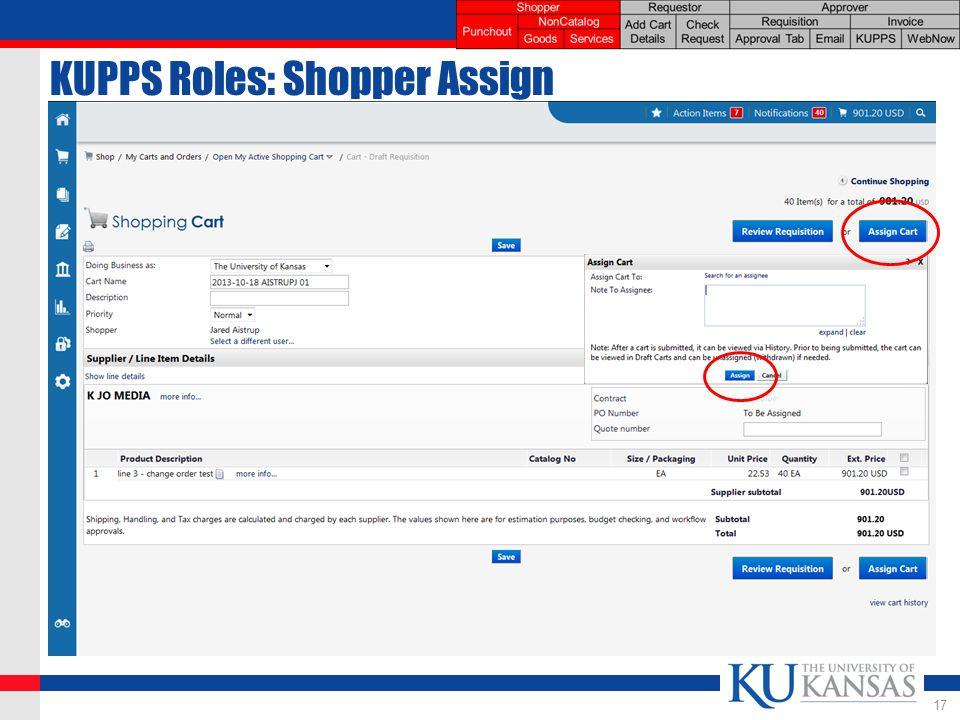 KUPPS Roles: Shopper Assign 17