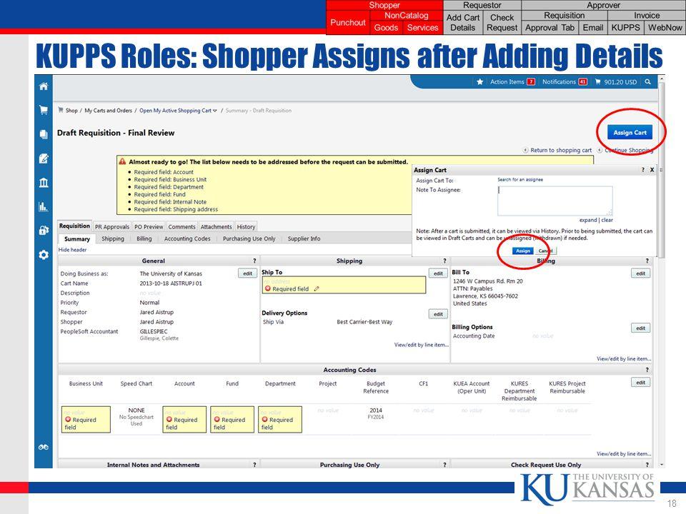 KUPPS Roles: Shopper Assigns after Adding Details 18