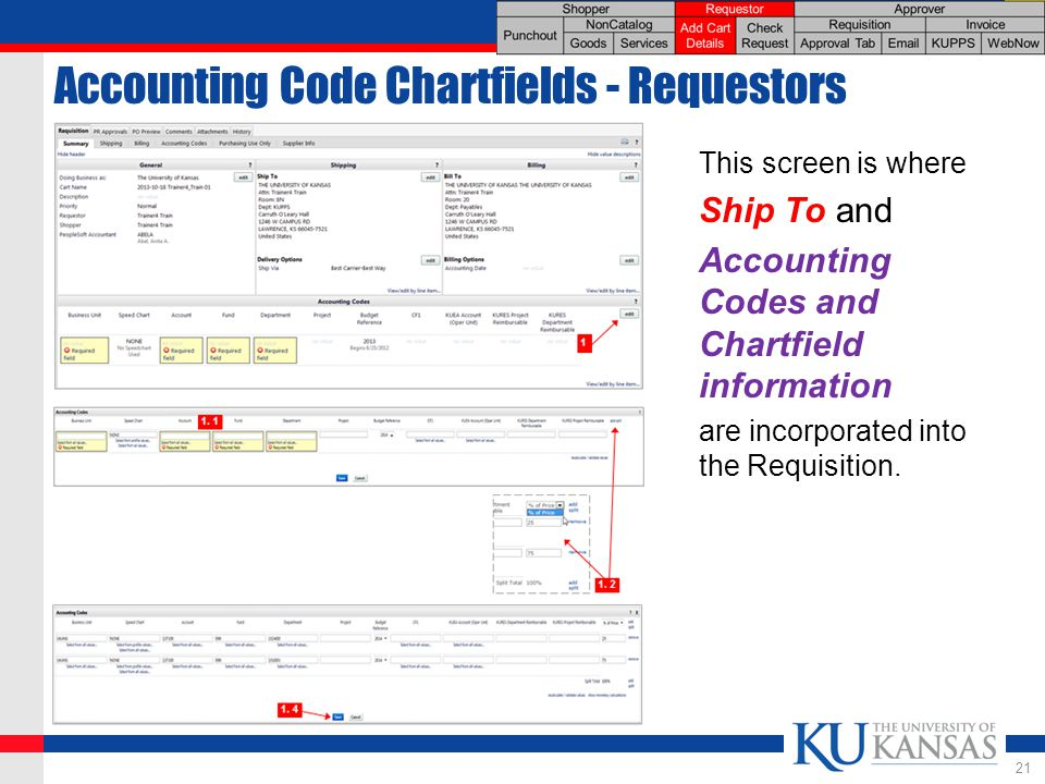 Accounting Code Chartfields - Requestors This screen is where Ship To and Accounting Codes and Chartfield information are incorporated into the Requisition.