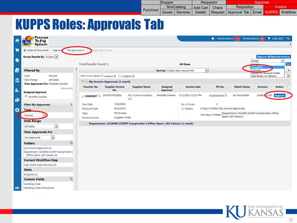 KUPPS Roles: Approvals Tab 36