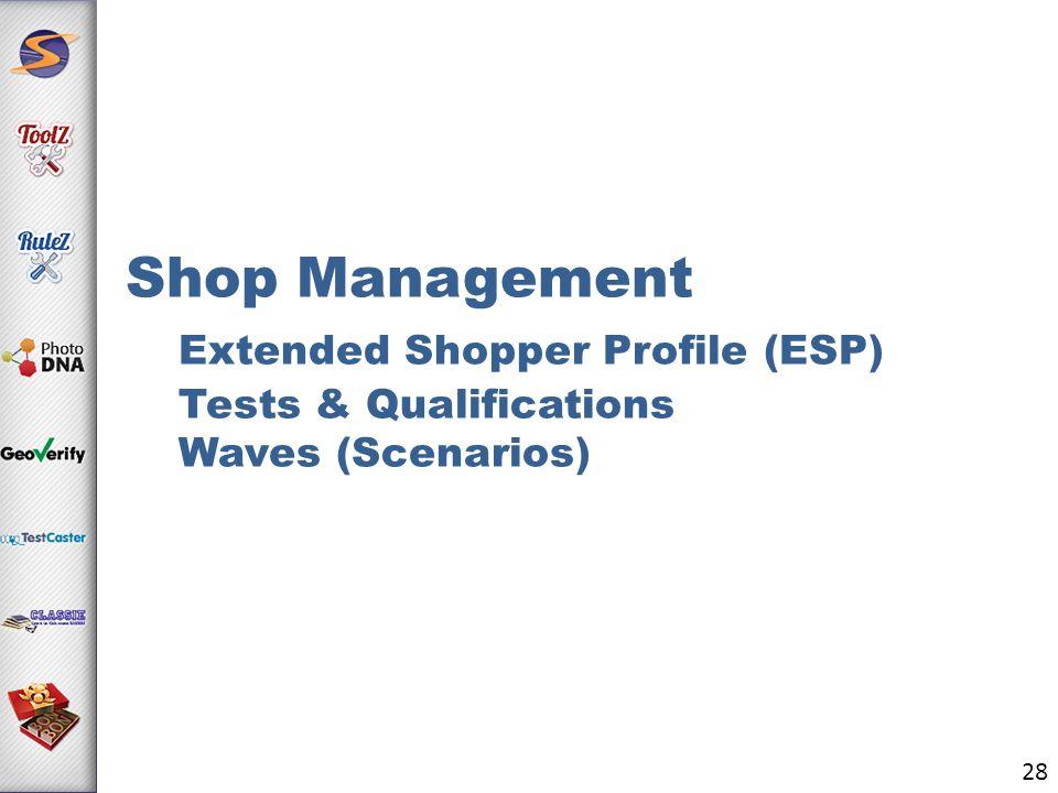 Shop Management Extended Shopper Profile (ESP) Tests & Qualifications Waves (Scenarios) 28