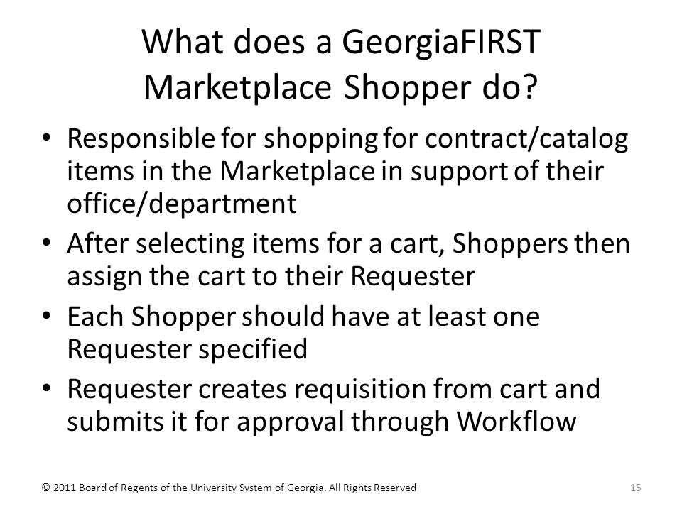 What does a GeorgiaFIRST Marketplace Shopper do.