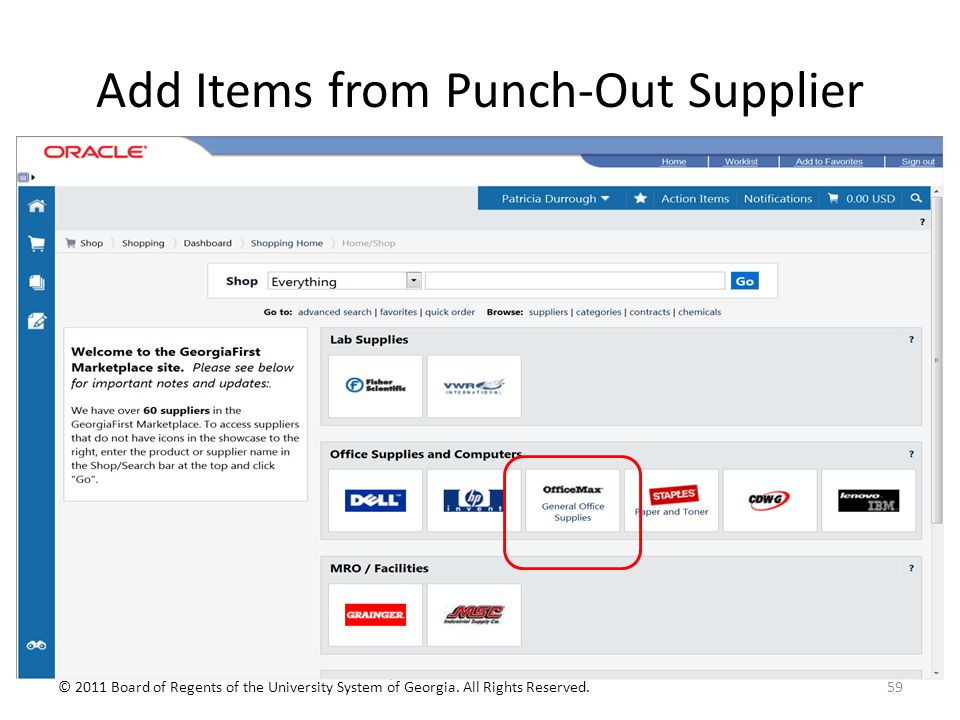 Add Items from Punch-Out Supplier 59© 2011 Board of Regents of the University System of Georgia.