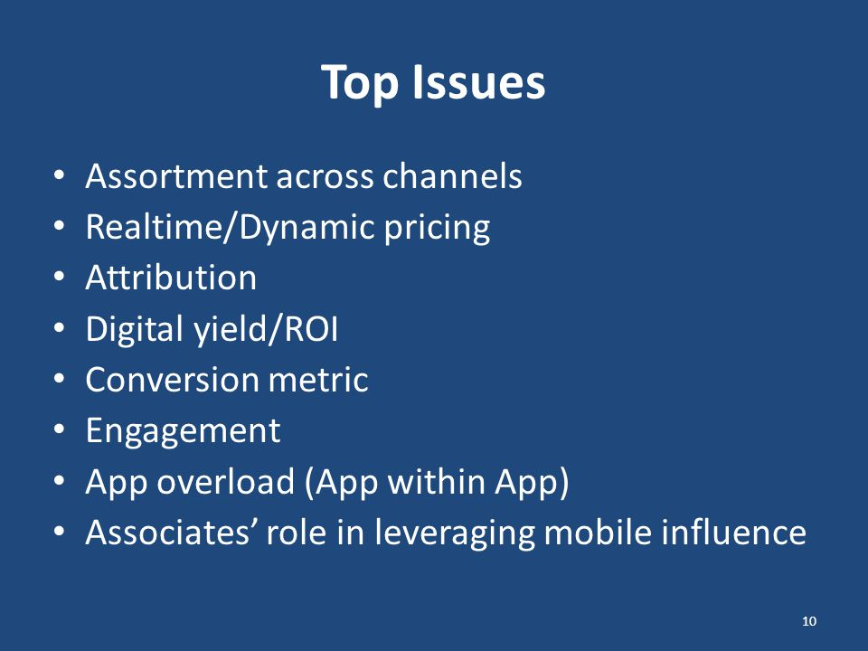 Top Issues Assortment across channels Realtime/Dynamic pricing Attribution Digital yield/ROI Conversion metric Engagement App overload (App within App) Associates' role in leveraging mobile influence 10