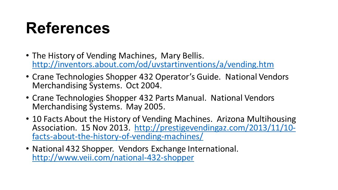 References The History of Vending Machines, Mary Bellis.