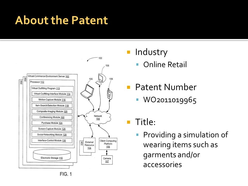  Industry  Online Retail  Patent Number  WO2011019965  Title:  Providing a simulation of wearing items such as garments and/or accessories About the Patent