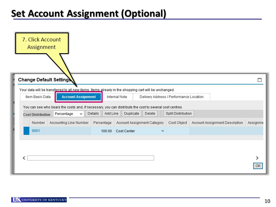 Set Account Assignment (Optional) 7. Click Account Assignment 10