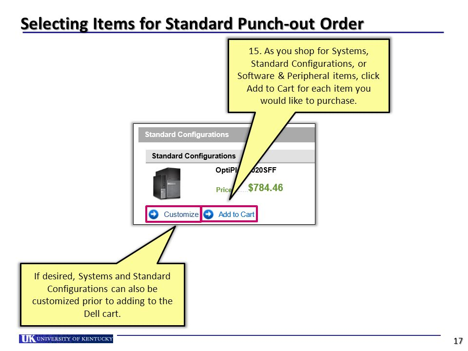 Selecting Items for Standard Punch-out Order 15. As you shop for Systems, Standard Configurations, or Software & Peripheral items, click Add to Cart f