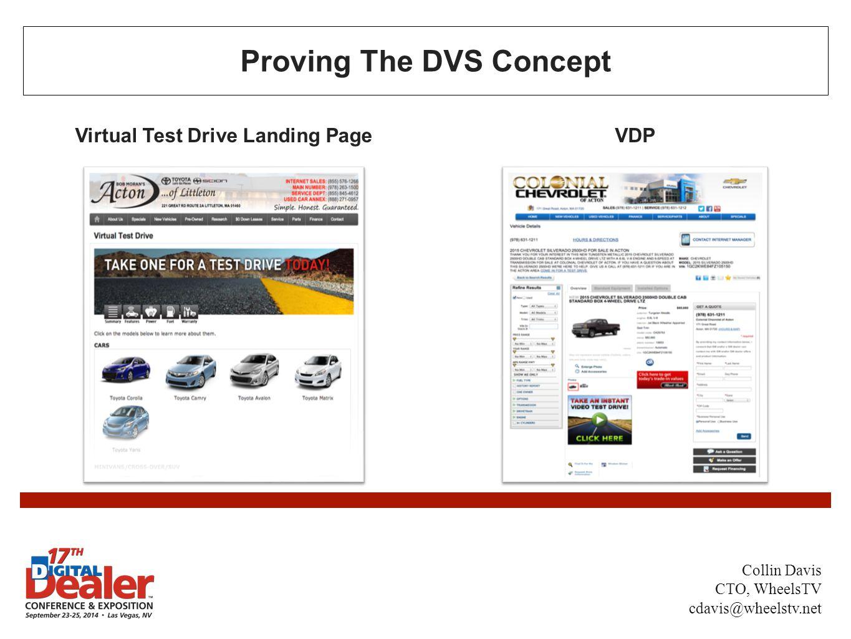 Proving The DVS Concept Virtual Test Drive Landing PageVDP Collin Davis CTO, WheelsTV cdavis@wheelstv.net