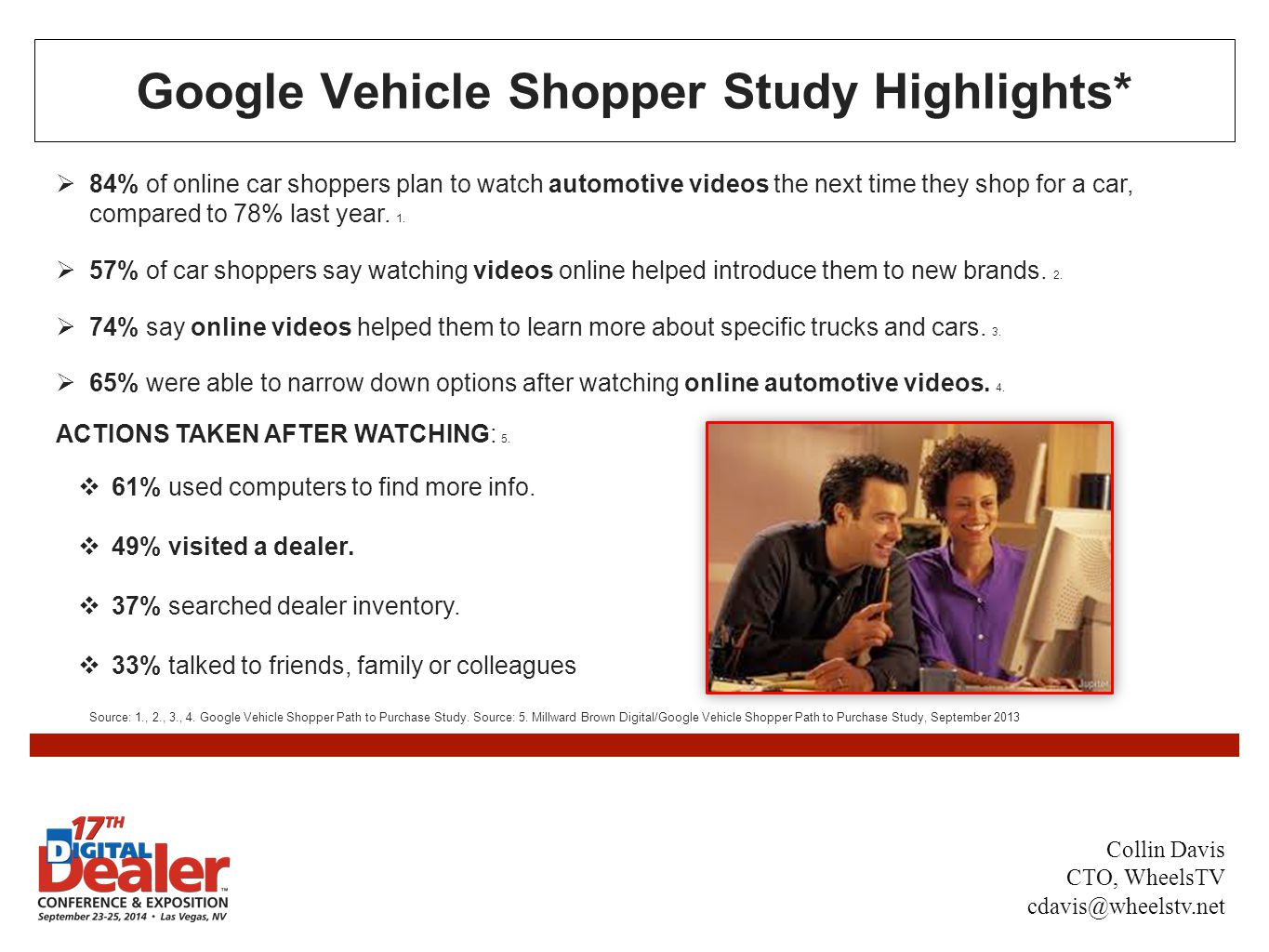 Google Vehicle Shopper Study Highlights*  84% of online car shoppers plan to watch automotive videos the next time they shop for a car, compared to 78% last year.