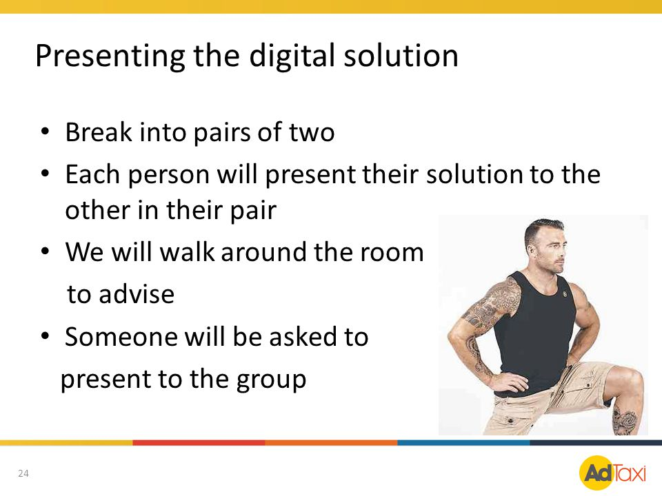 Break into pairs of two Each person will present their solution to the other in their pair We will walk around the room to advise Someone will be aske
