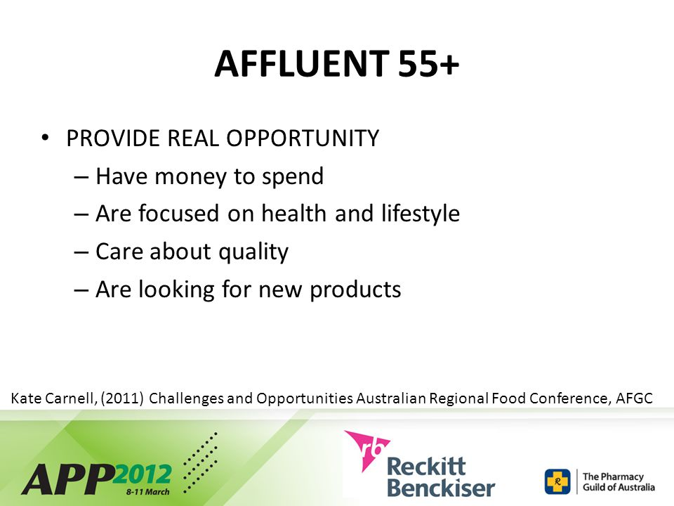 AFFLUENT 55+ PROVIDE REAL OPPORTUNITY – Have money to spend – Are focused on health and lifestyle – Care about quality – Are looking for new products Kate Carnell, (2011) Challenges and Opportunities Australian Regional Food Conference, AFGC