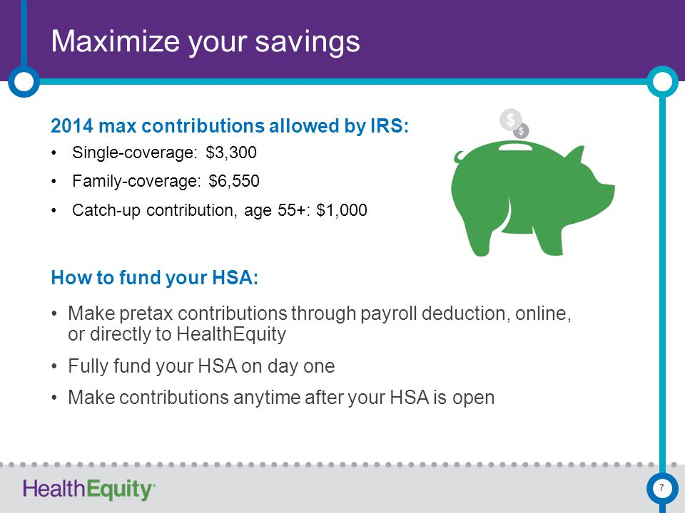 Maximize your savings 7 2014 max contributions allowed by IRS: Single-coverage: $3,300 Family-coverage: $6,550 Catch-up contribution, age 55+: $1,000 How to fund your HSA: Make pretax contributions through payroll deduction, online, or directly to HealthEquity Fully fund your HSA on day one Make contributions anytime after your HSA is open