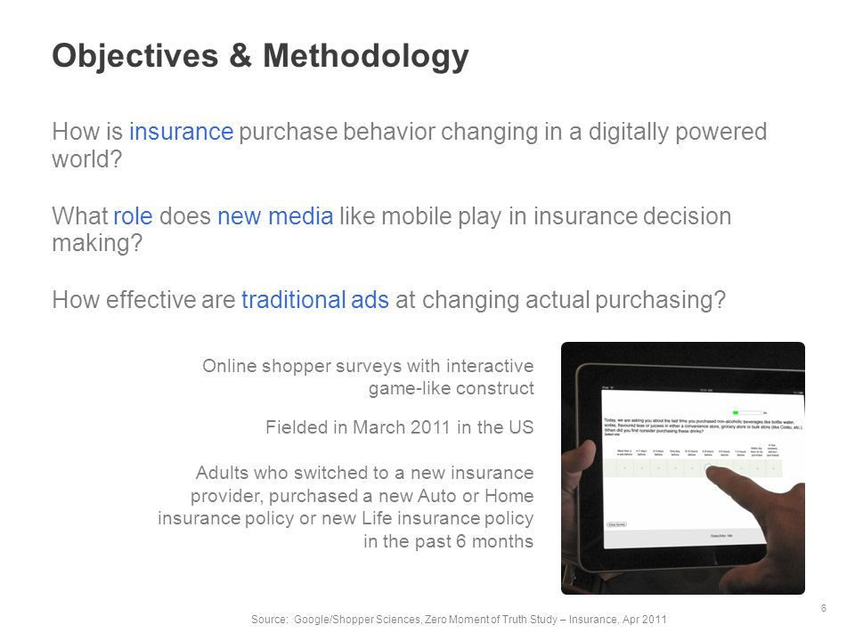 Objectives & Methodology How is insurance purchase behavior changing in a digitally powered world? What role does new media like mobile play in insura