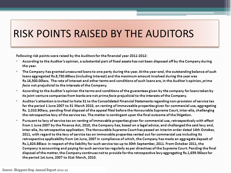 RISK POINTS RAISED BY THE AUDITORS Following risk points were raised by the Auditors for the financial year 2011-2012: According to the Auditor's opinion, a substantial part of fixed assets has not been disposed off by the Company during the year.