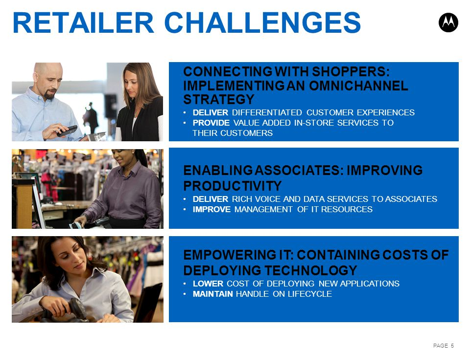PAGE 5 RETAILER CHALLENGES ENABLING ASSOCIATES: IMPROVING PRODUCTIVITY DELIVER RICH VOICE AND DATA SERVICES TO ASSOCIATES IMPROVE MANAGEMENT OF IT RES