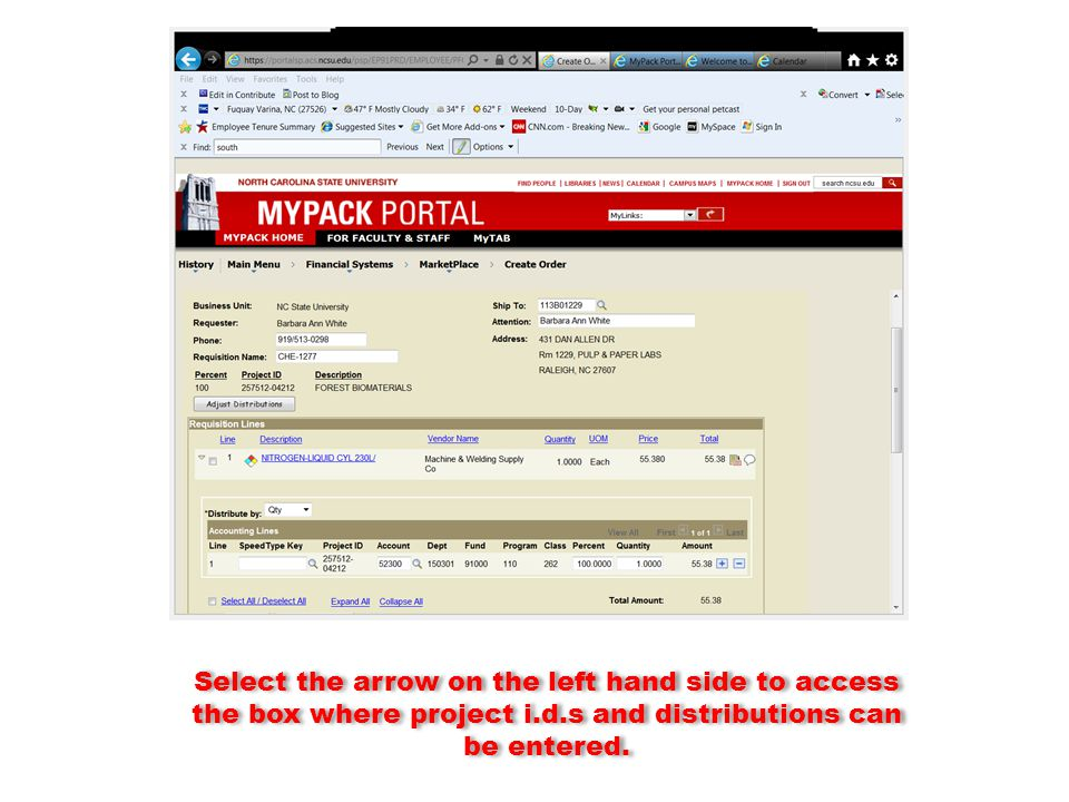 Select the arrow on the left hand side to access the box where project i.d.s and distributions can be entered.