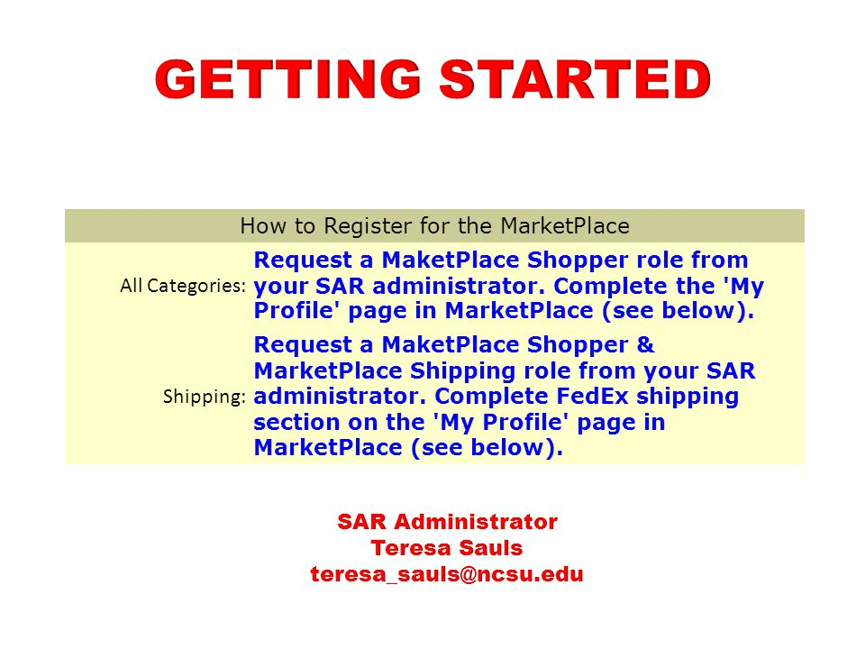 How to Register for the MarketPlace All Categories: Request a MaketPlace Shopper role from your SAR administrator.