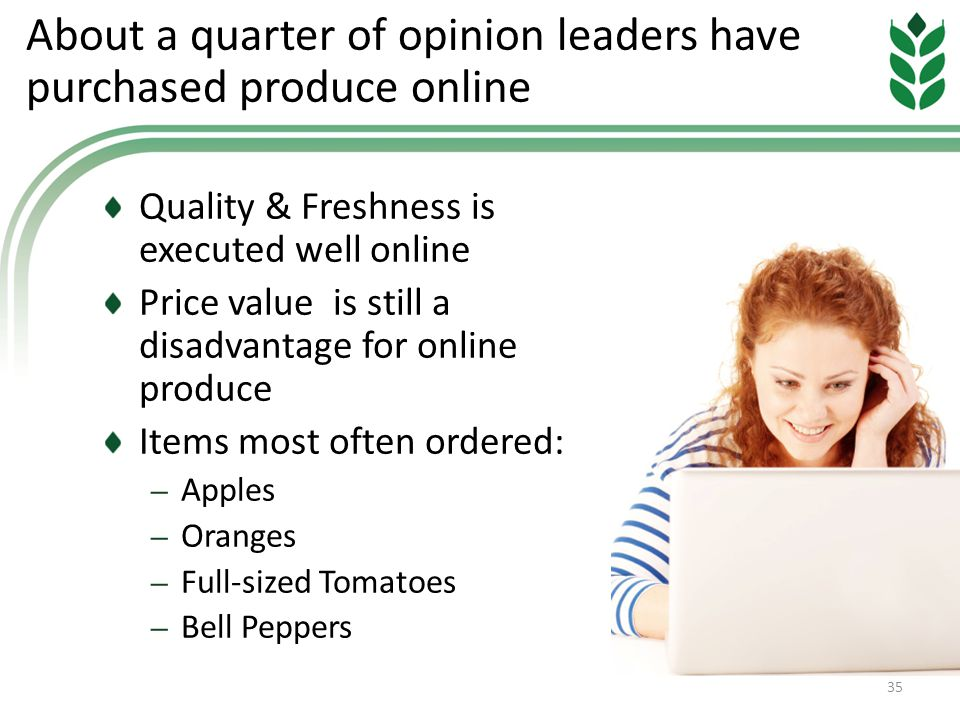 About a quarter of opinion leaders have purchased produce online Quality & Freshness is executed well online Price value is still a disadvantage for online produce Items most often ordered: – Apples – Oranges – Full-sized Tomatoes – Bell Peppers 35