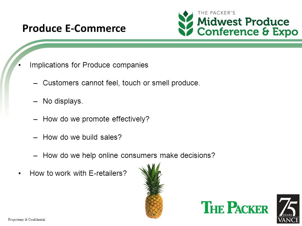 Produce E-Commerce Implications for Produce companies –Customers cannot feel, touch or smell produce.