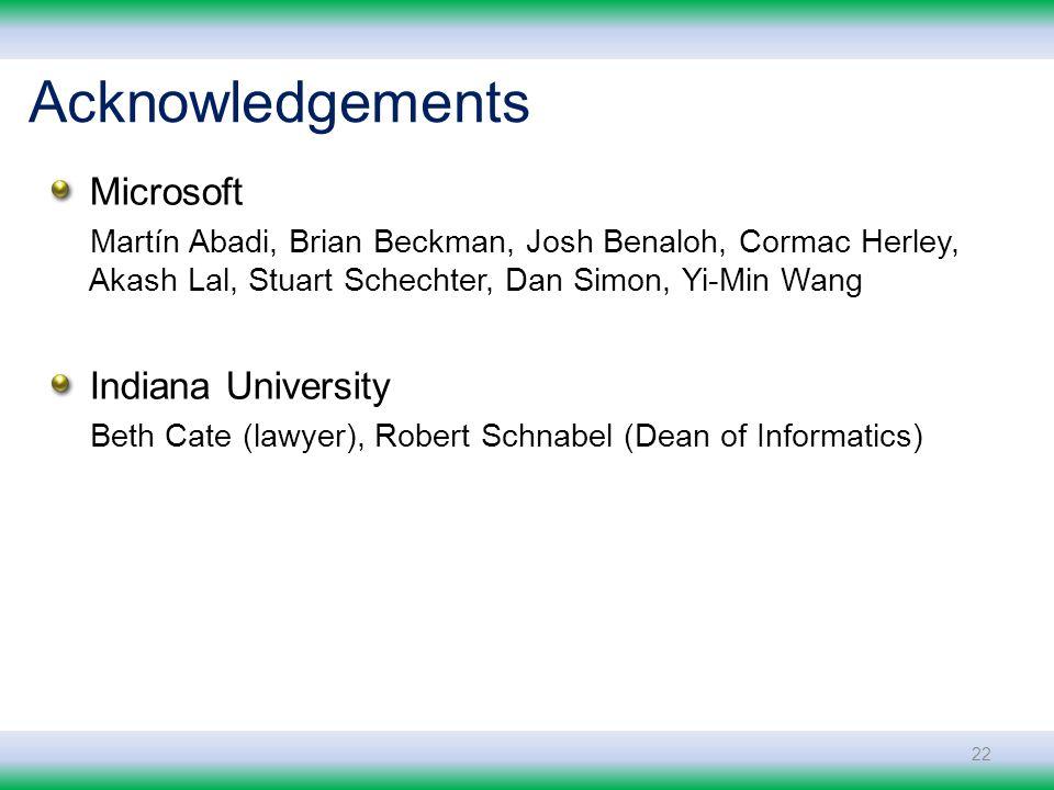Microsoft Martín Abadi, Brian Beckman, Josh Benaloh, Cormac Herley, Akash Lal, Stuart Schechter, Dan Simon, Yi-Min Wang Indiana University Beth Cate (lawyer), Robert Schnabel (Dean of Informatics) 22 Acknowledgements