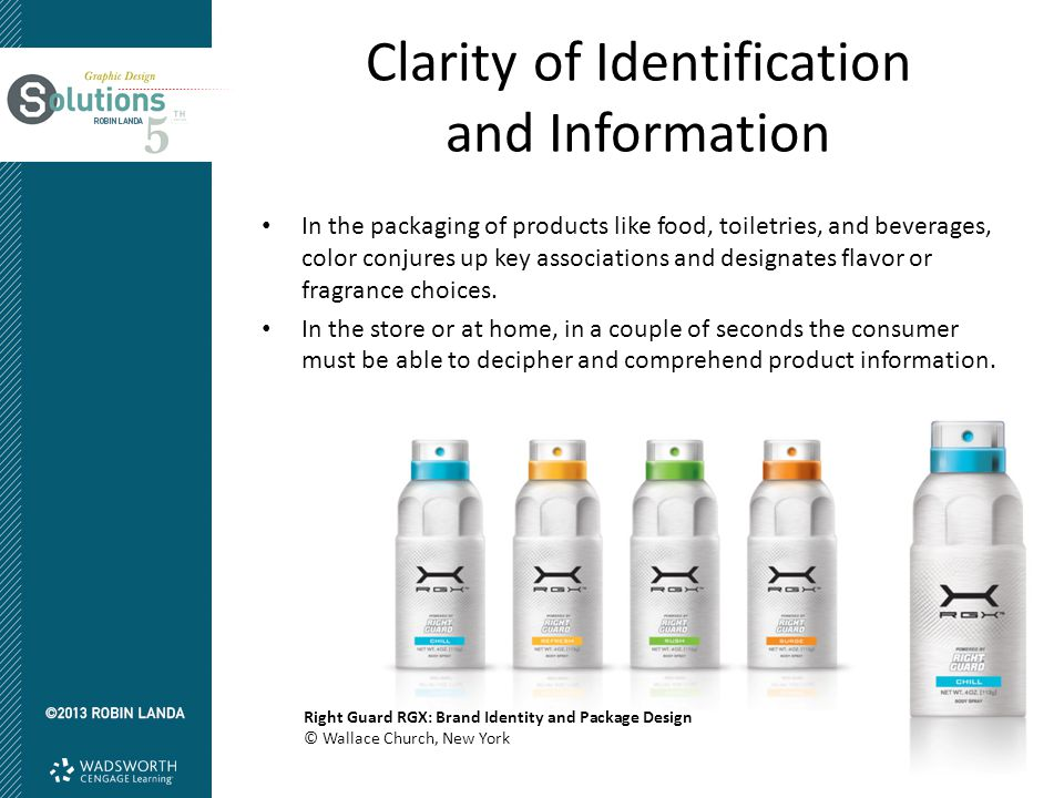 Clarity of Identification and Information Right Guard RGX: Brand Identity and Package Design © Wallace Church, New York In the packaging of products like food, toiletries, and beverages, color conjures up key associations and designates flavor or fragrance choices.