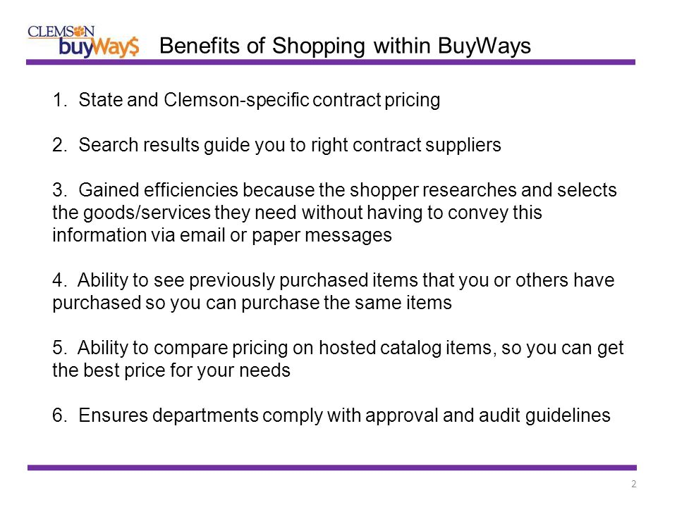 2 1. State and Clemson-specific contract pricing 2.