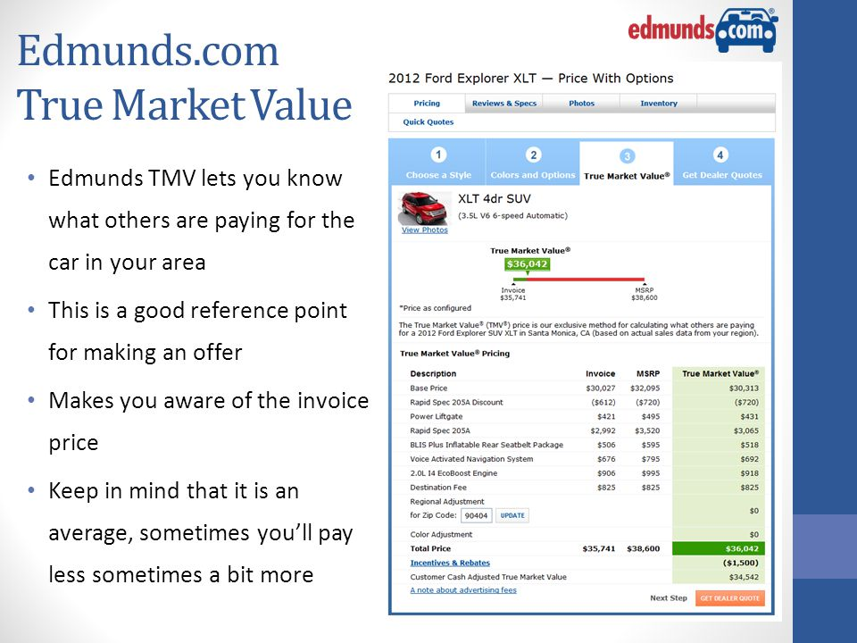Edmunds.com True Market Value Edmunds TMV lets you know what others are paying for the car in your area This is a good reference point for making an offer Makes you aware of the invoice price Keep in mind that it is an average, sometimes you'll pay less sometimes a bit more
