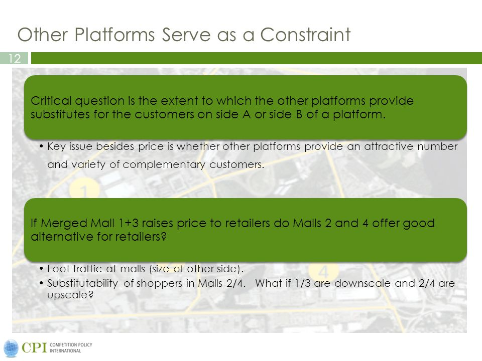 12 Other Platforms Serve as a Constraint Critical question is the extent to which the other platforms provide substitutes for the customers on side A