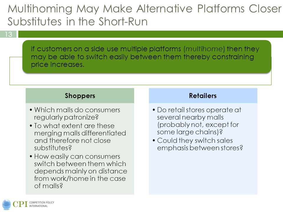 13 Multihoming May Make Alternative Platforms Closer Substitutes in the Short-Run Shoppers Which malls do consumers regularly patronize? To what exten