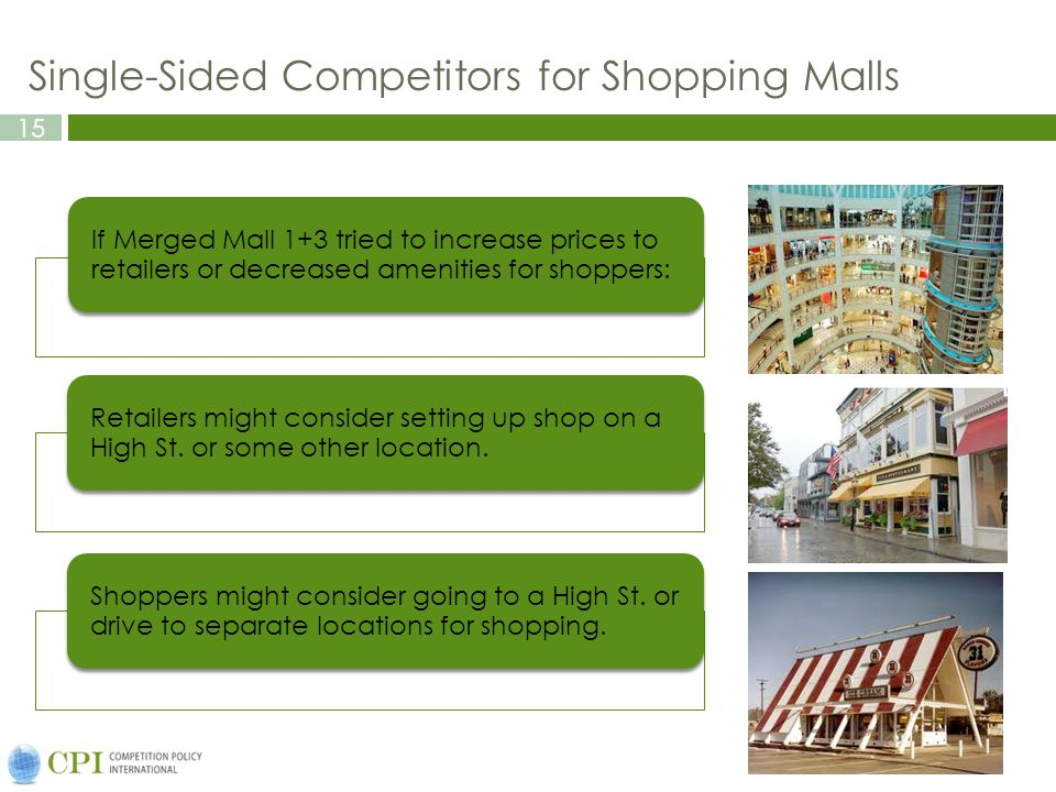 15 Single-Sided Competitors for Shopping Malls If Merged Mall 1+3 tried to increase prices to retailers or decreased amenities for shoppers: Retailers might consider setting up shop on a High St.