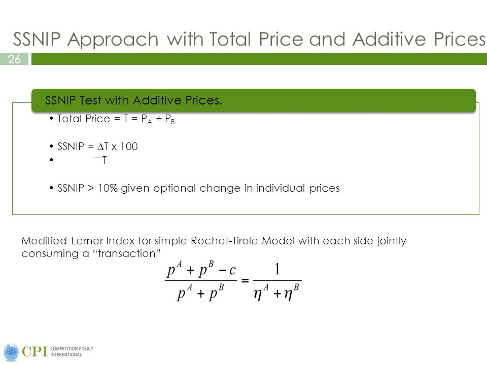 """26 SSNIP Approach with Total Price and Additive Prices Modified Lerner Index for simple Rochet-Tirole Model with each side jointly consuming a """"transa"""