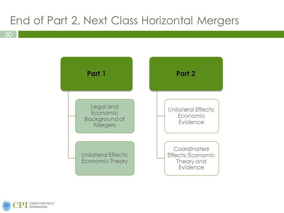 30 End of Part 2, Next Class Horizontal Mergers Part 1 Legal and Economic Background of Mergers Unilateral Effects: Economic Theory Part 2 Unilateral Effects: Economic Evidence Coordinated Effects: Economic Theory and Evidence