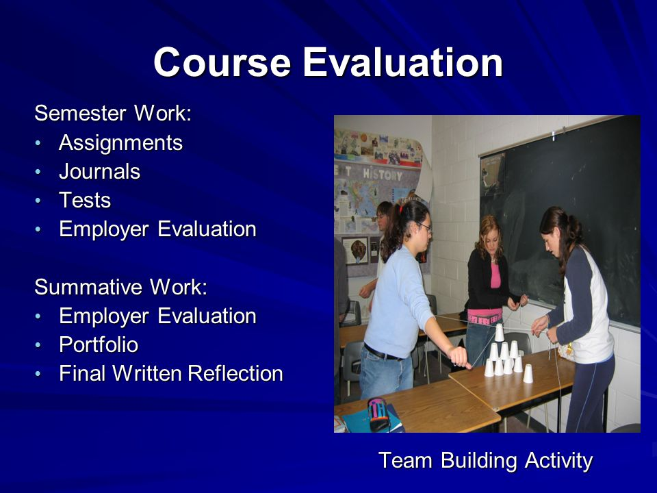 Course Evaluation Semester Work: Assignments Assignments Journals Journals Tests Tests Employer Evaluation Employer Evaluation Summative Work: Employer Evaluation Employer Evaluation Portfolio Portfolio Final Written Reflection Final Written Reflection Team Building Activity Team Building Activity