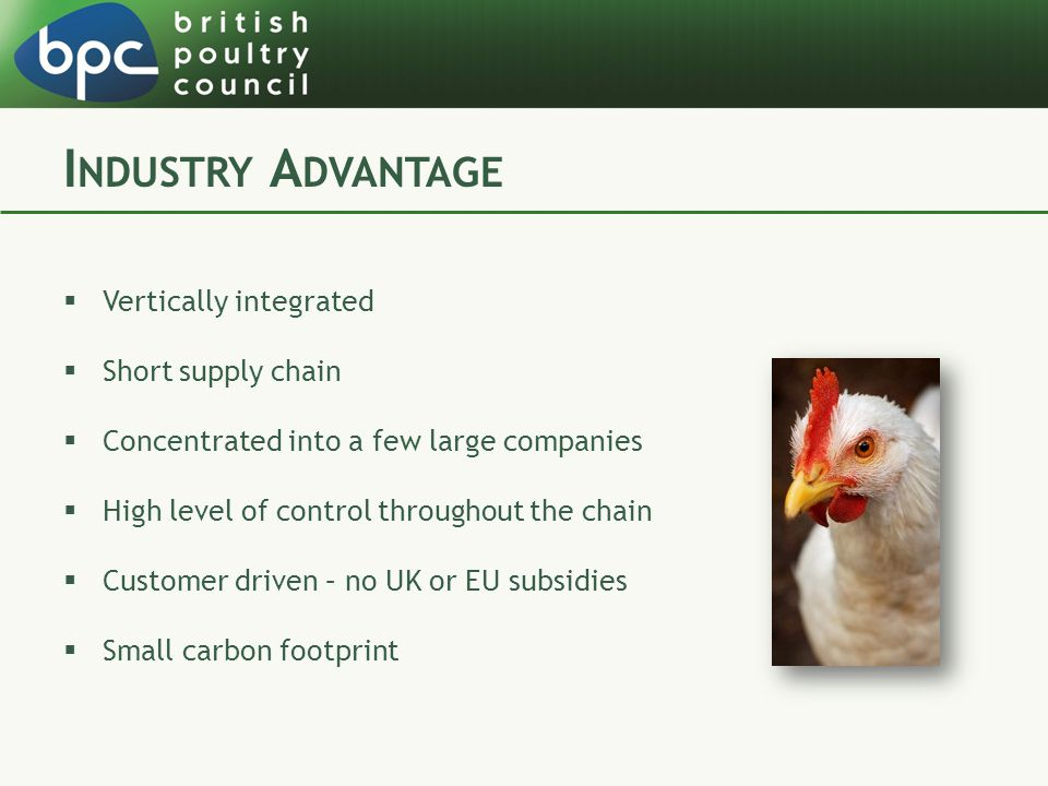 I NDUSTRY A DVANTAGE  Vertically integrated  Short supply chain  Concentrated into a few large companies  High level of control throughout the cha