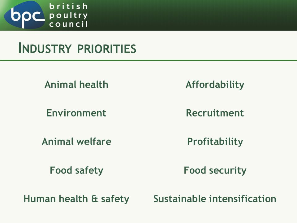 Animal health Environment Animal welfare Food safety Human health & safety Affordability Recruitment Profitability Food security Sustainable intensification
