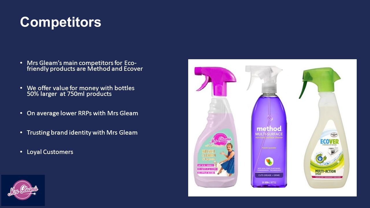 Competitors Mrs Gleam's main competitors for Eco- friendly products are Method and Ecover We offer value for money with bottles 50% larger at 750ml products On average lower RRPs with Mrs Gleam Trusting brand identity with Mrs Gleam Loyal Customers