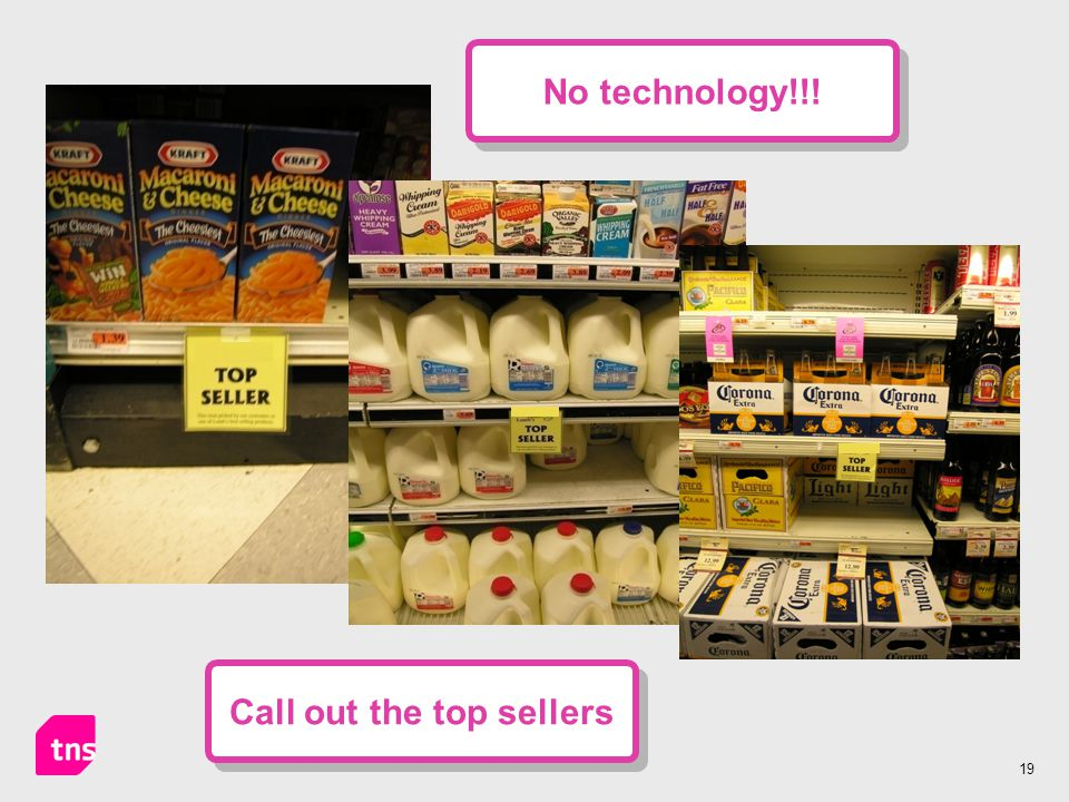 19 Call out the top sellers No technology!!!