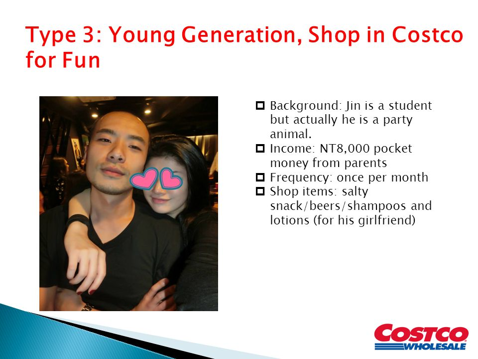 Type 3: Young Generation, Shop in Costco for Fun  Background: Jin is a student but actually he is a party animal.