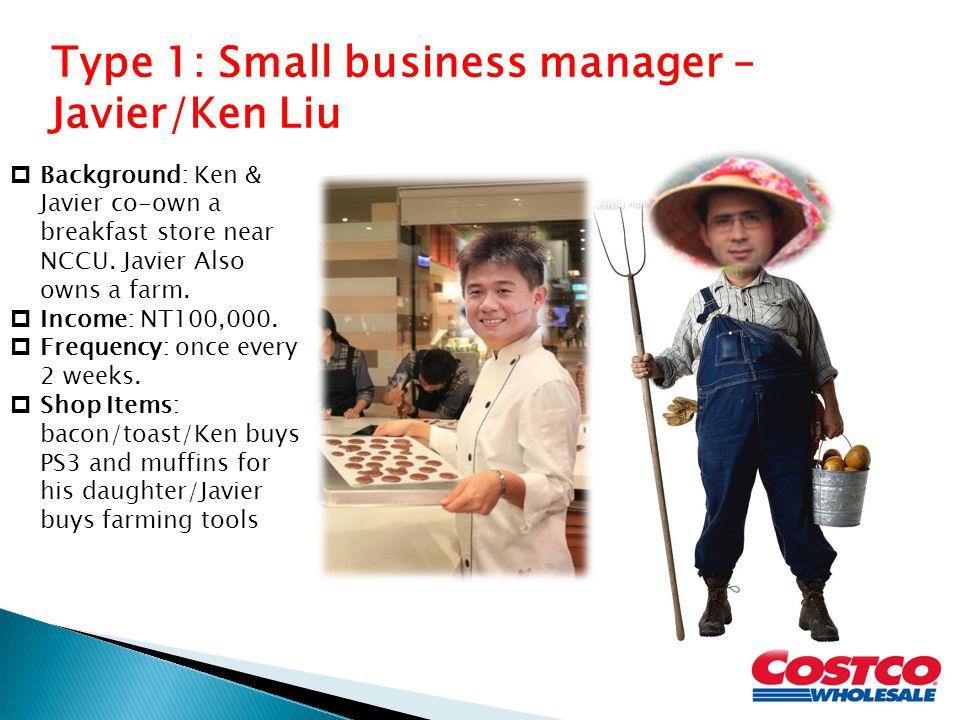 Type 1: Small business manager – Javier/Ken Liu  Background: Ken & Javier co-own a breakfast store near NCCU.