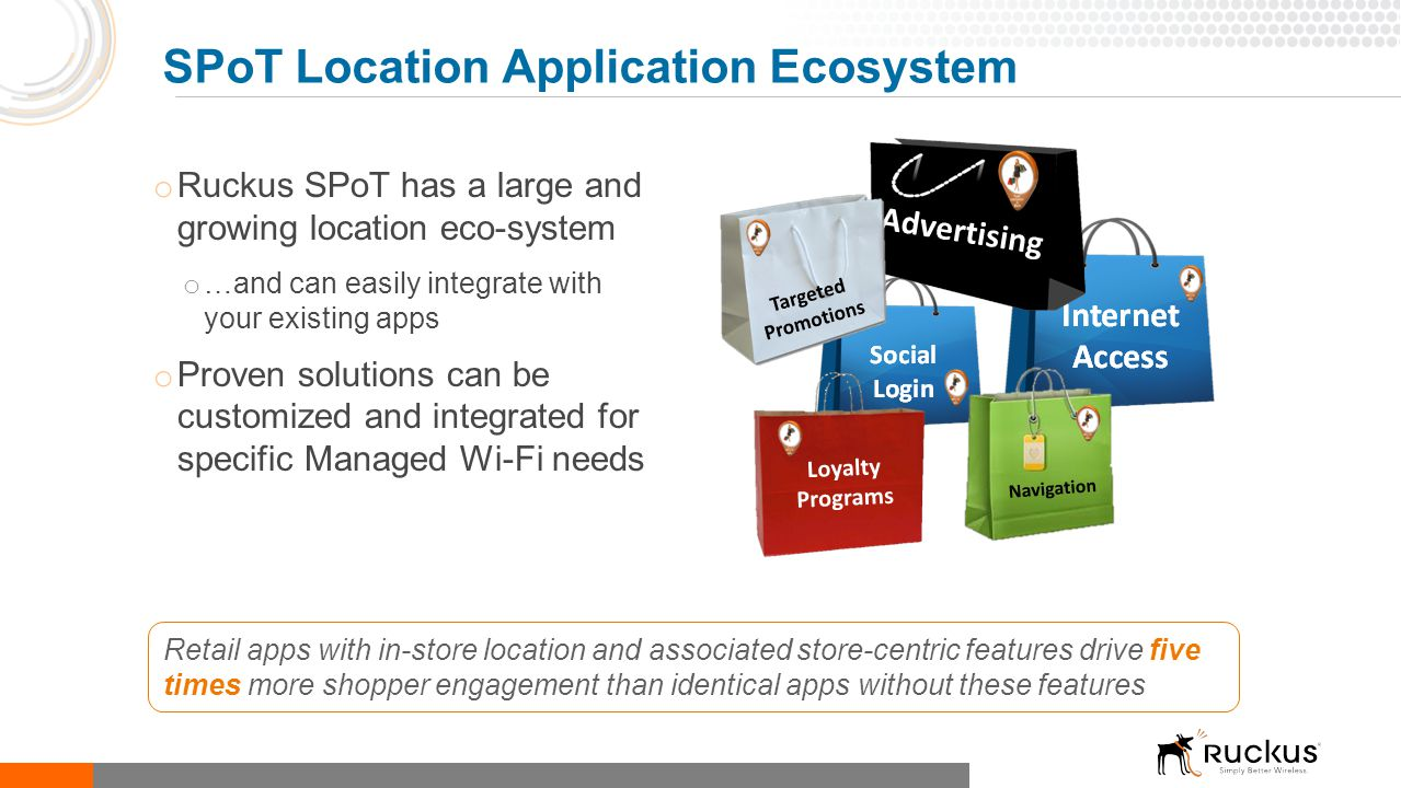 o Ruckus SPoT has a large and growing location eco-system o …and can easily integrate with your existing apps o Proven solutions can be customized and