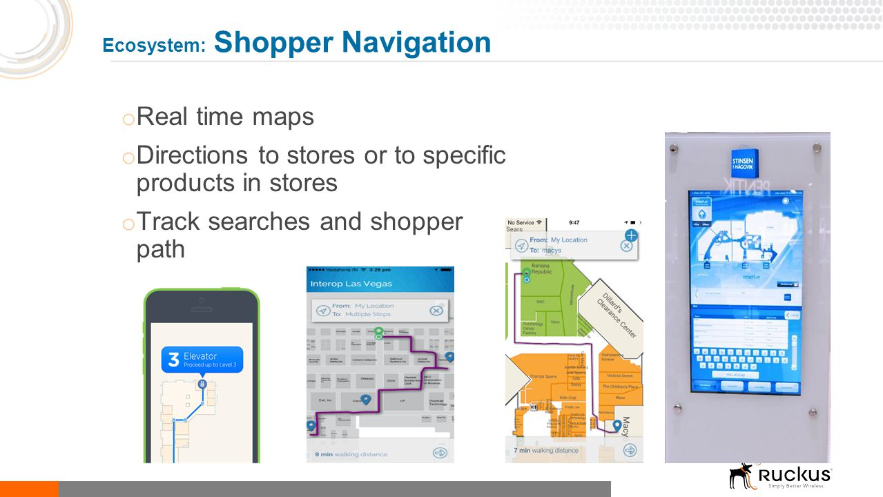 o Real time maps o Directions to stores or to specific products in stores o Track searches and shopper path Ecosystem: Shopper Navigation