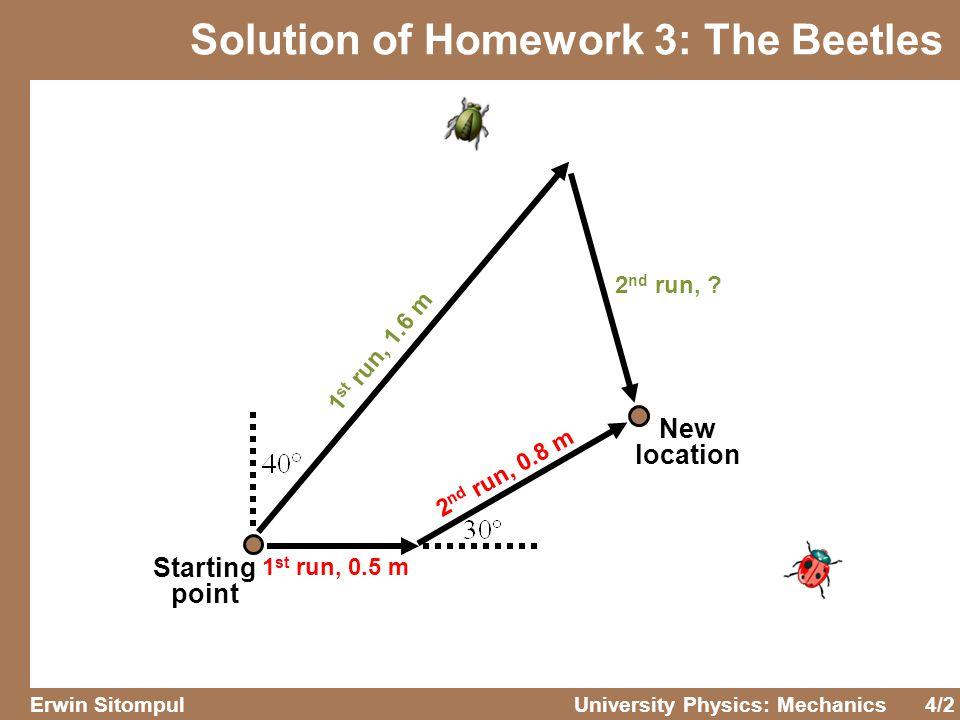 4/2 Erwin SitompulUniversity Physics: Mechanics Solution of Homework 3: The Beetles Starting point 1 st run, 0.5 m 2 nd run, 0.8 m 1 st run, 1.6 m 2 nd run, .