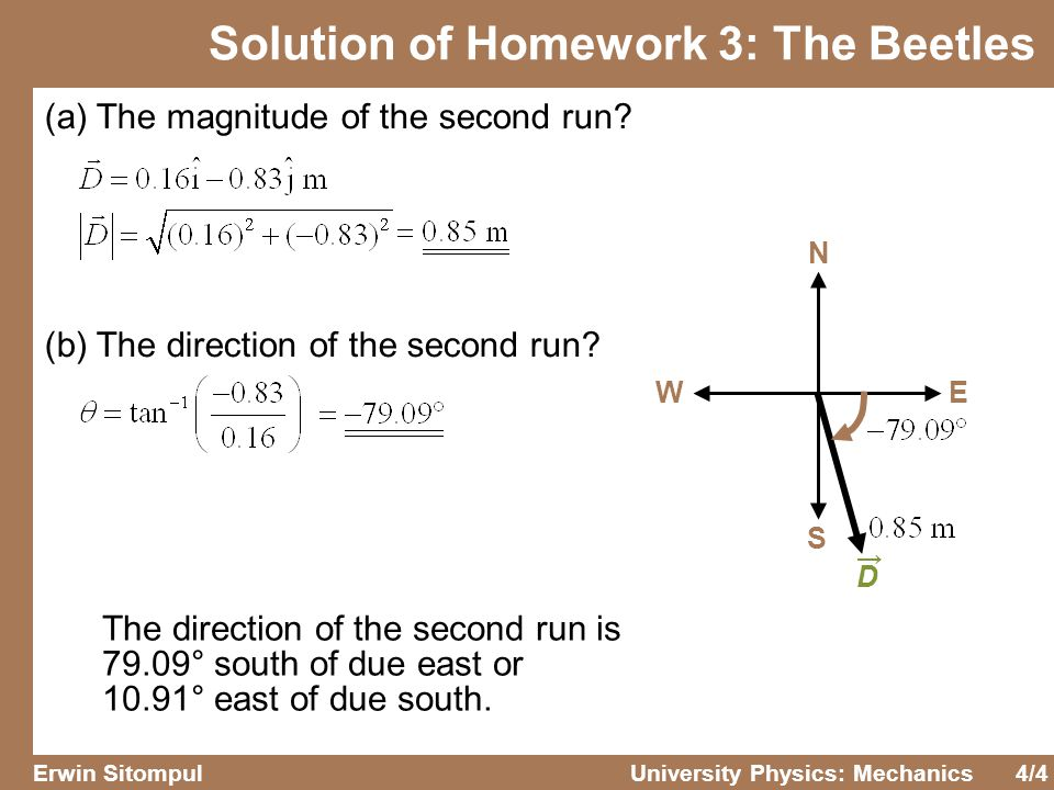 4/4 Erwin SitompulUniversity Physics: Mechanics Solution of Homework 3: The Beetles (a) The magnitude of the second run? (b) The direction of the seco