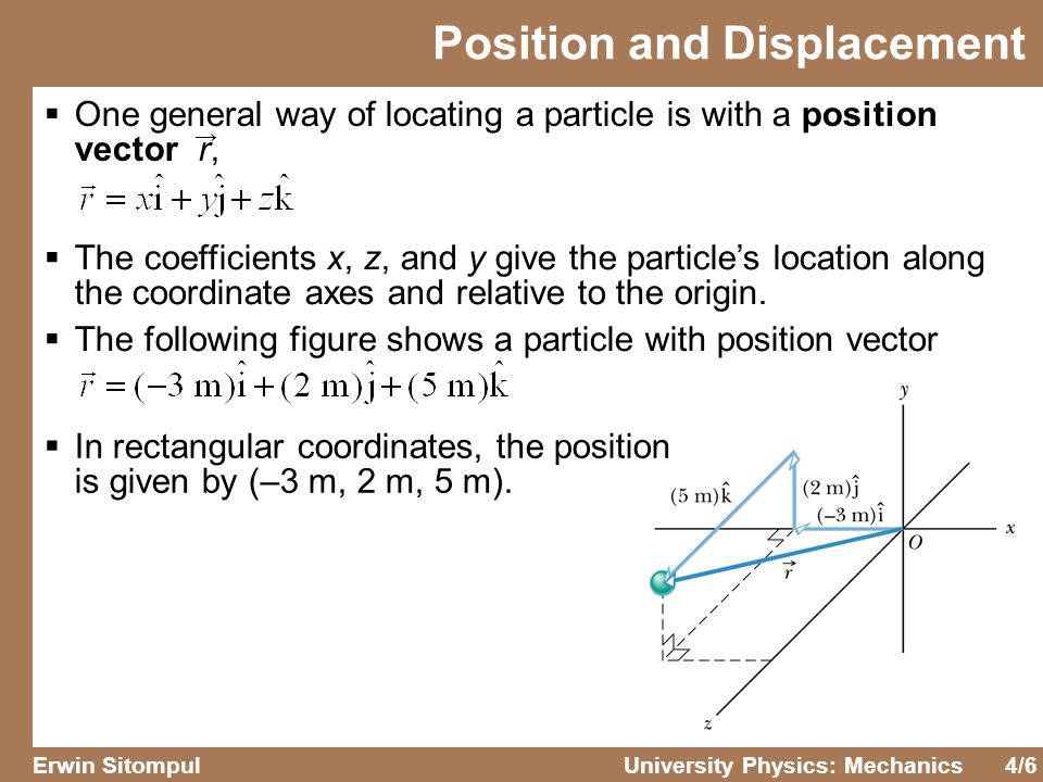 4/6 Erwin SitompulUniversity Physics: Mechanics Position and Displacement  One general way of locating a particle is with a position vector r,  The coefficients x, z, and y give the particle's location along the coordinate axes and relative to the origin.